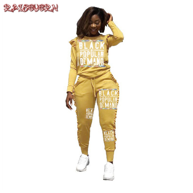 RAISEVERN 2019 New Letters Printed Women's Set Sexy Casual Hoodies Suit Ruffle 2 Piece Set Streetwear Black Yellow Tracksuits