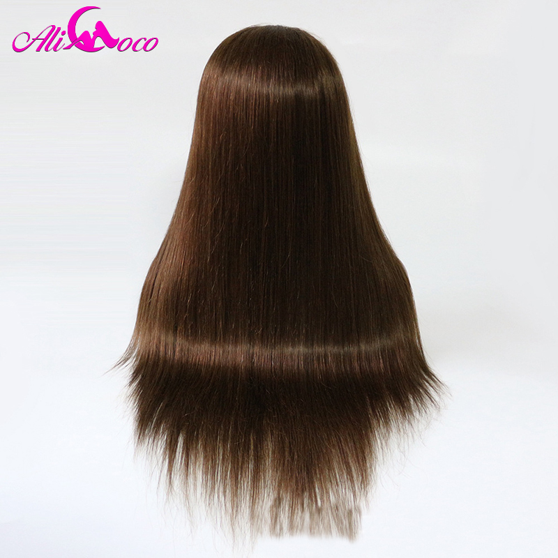 Ali Coco Brazilian Lace Front Human Hair Wigs 4 Light Brown Color 130 150 Density 13x4