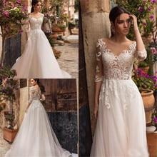 Weiß Elfenbein Hochzeit Kleider Covered Button Zurück Brautkleider Spitze Appliqued 3/4 Hülse A linie Tüll Hochzeit Kleid Vestido De
