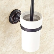 Держатель для туалетной щетки настенный масло втирают бронзу для ванной, туалета пемза для мытья Чистящая Щетка с держателем набор KD658