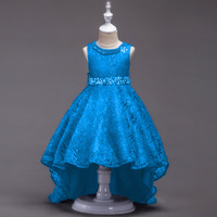 Fashion Elegant Red Sky Blue Wedding Clothing Children Flower Girls Dress Belt In Beads for Prom Party Evening Dresses Kids