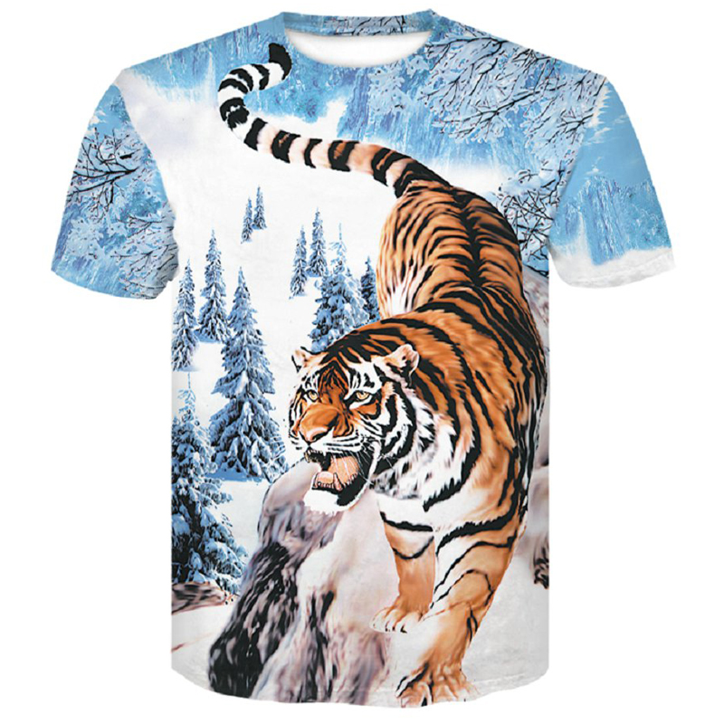Tiger T Shirt Men 3d Prined 2019 New T-Shirt Short Sleeve O-Neck Fashion Hip Hop Summer Tops Tees Casual 3D Wolf Male Shirt