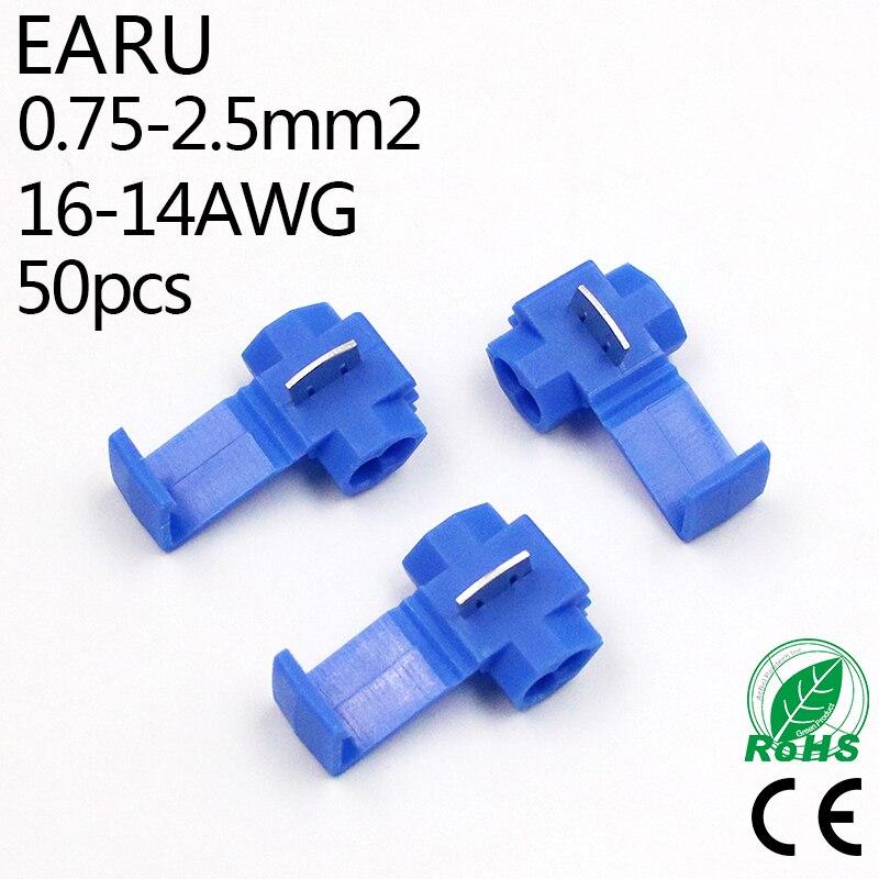 50PCS Blue 1.5-2.5mm2 16-14 AWG Scotch Lock T Type Wire Electrical Cable Connectors Quick Splice Terminals Crimp