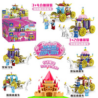Cinderella Princess Royal Carriage Building Blocks Figures Legoings Dream Pumpkin Car Blocks Bricks Model Toys Girls Gift