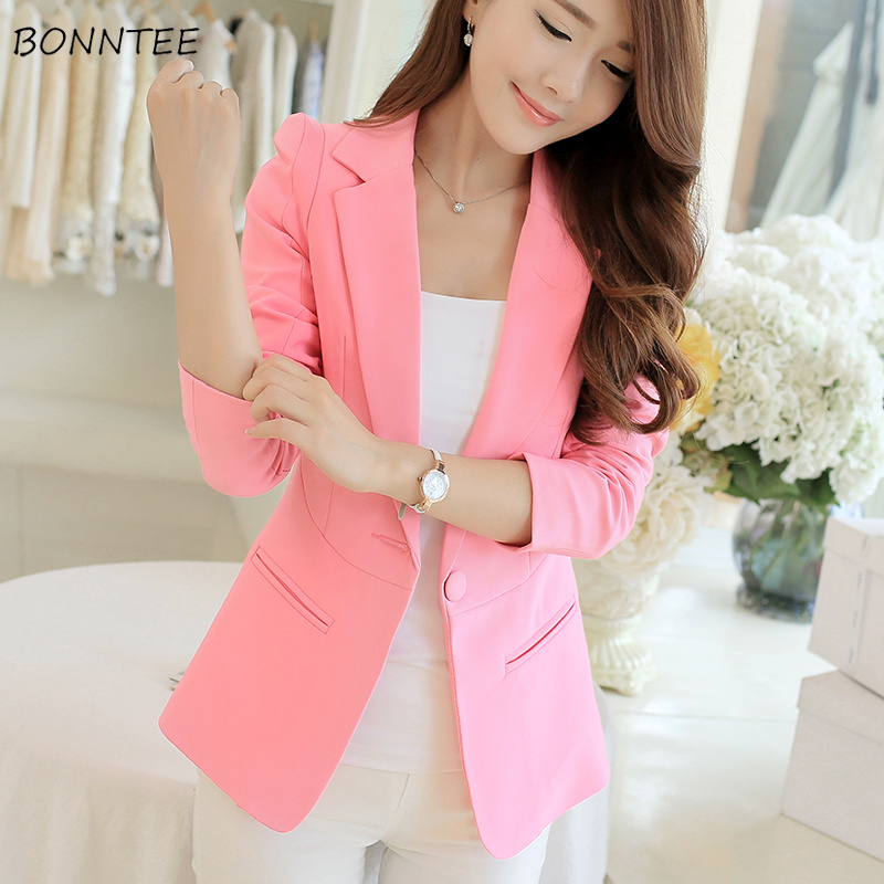 Blazers Women Solid Notched Collar Single Button Pockets Womens Blazer Korean Style All-match Elegant Leisure Trendy Office Lady