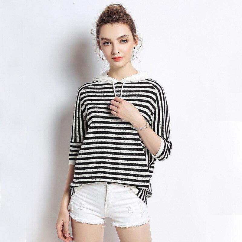 Nouveau 2018 été mode dames à capuche rayure t-shirt femme grande taille manches chauve-souris décontracté hauts grande taille vêtements L-XXXXXL 5xl