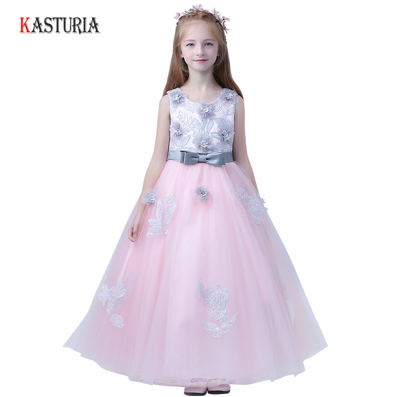 купить 2018 New Children's dress princess dresses for girls teenagers wedding party piano clothing long flowers kids ball gowns costume по цене 1971.93 рублей