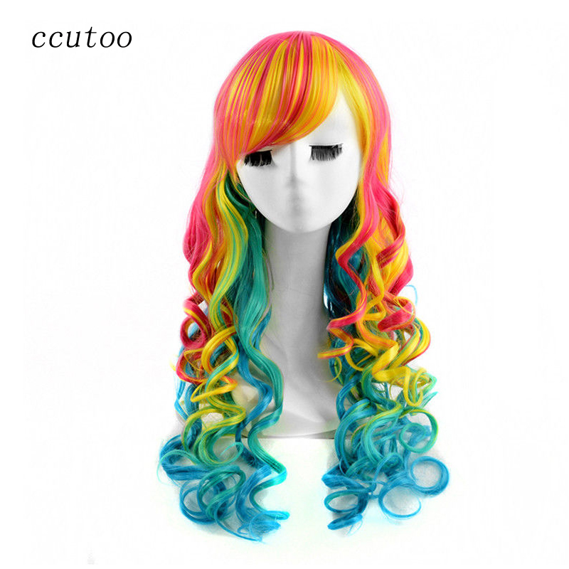 ccutoo 32 Yellow Red Blue Mix Wave Long Kinky Synthetic Hair Cosplay Costume Wigs Harajuku Party