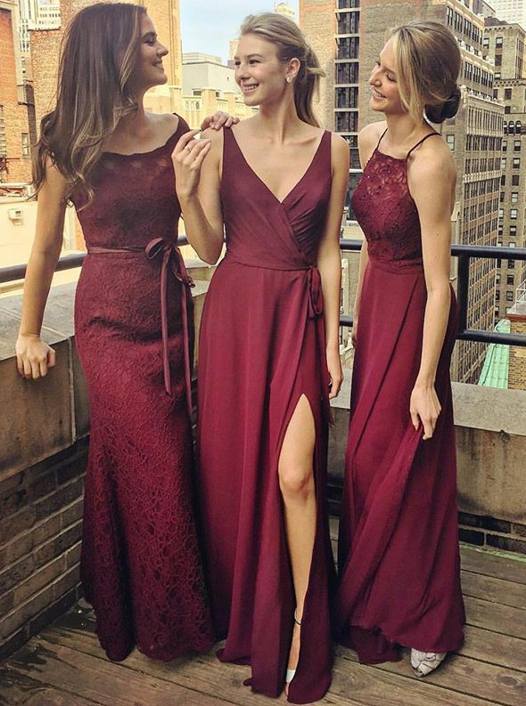 Mixed Style Burgundy Long   Bridesmaid     Dresses   2019 Cheap V-neck Lace Chiffon Maid of Honor   Dress   for Wedding Party Gowns