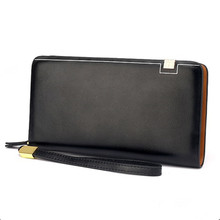 Mens' Leather Wallet Male Large Zipper Clutch Purse Casual Wallet with Strap for Men