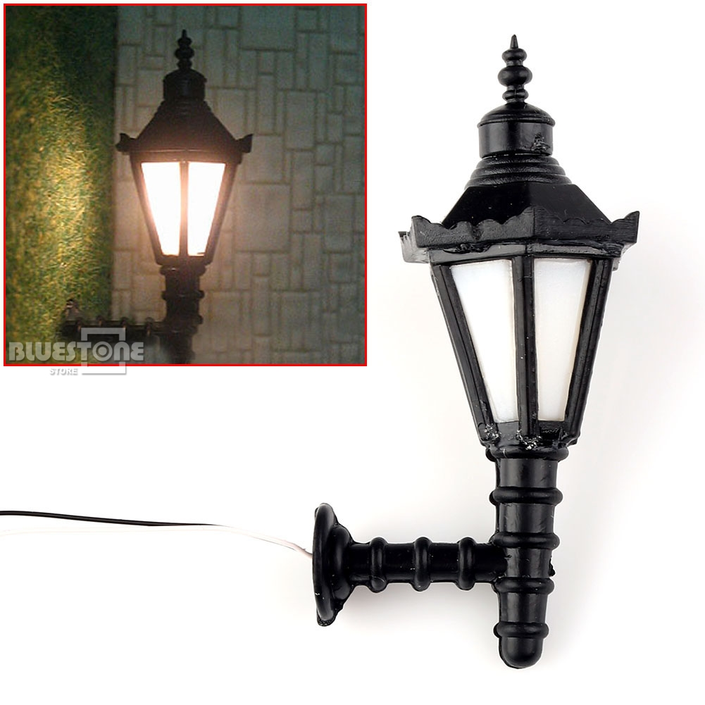 10pcs Model Railway Led Lamppost Lamps Wall Lights 1:75 OO Scale 3V New