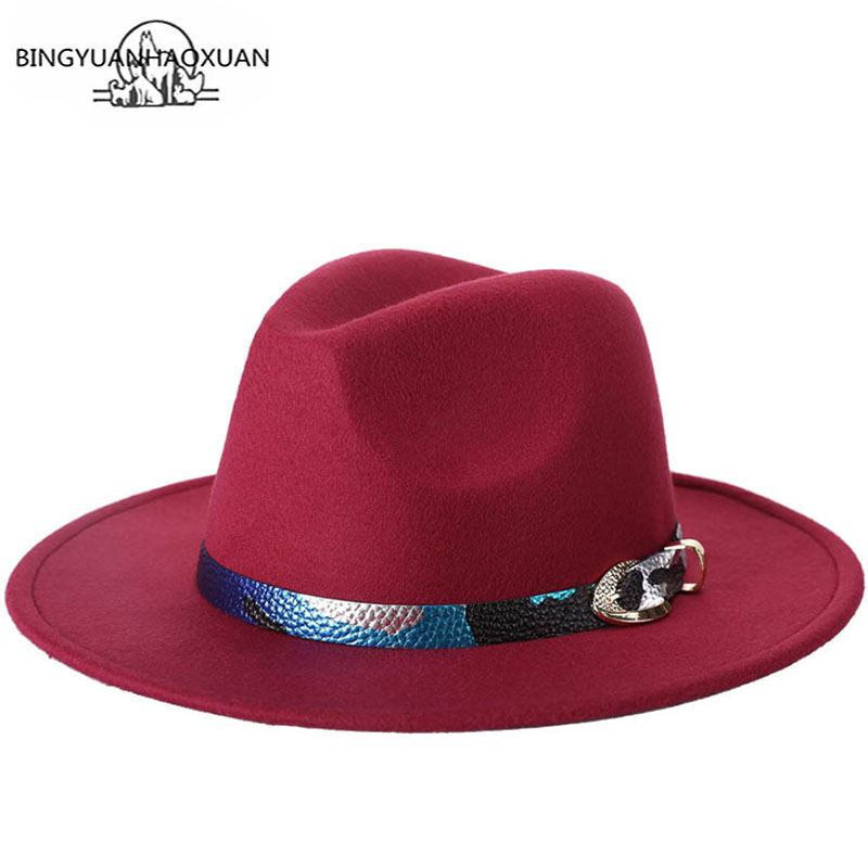 6aa52f9919d BINGYUANHAOXUAN Elegant Lady Large Wide Winter Wool Felt Hat Black Burgundy  Red Trilby Fedora Hats With