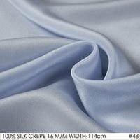 SILK CREPE DE CHINE 114 cm width 16 m/m /100% Pure Mulberry Silk Matt Color Women Evening Dress Fabric Grey Blue NO 48