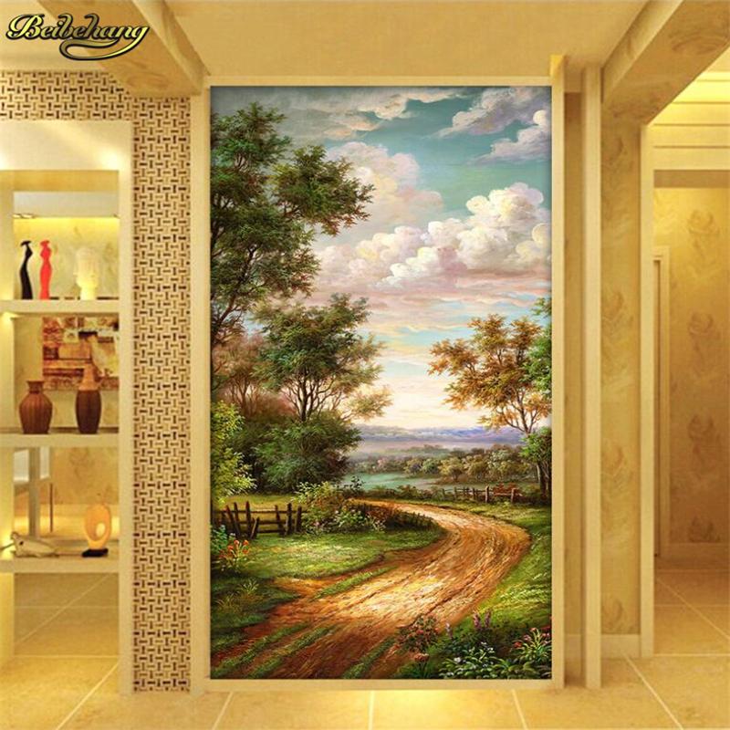 Beibehang Benutzerdefinierte Land Strasse Lgemlde 3D Foto Tapeten Home Interior Decor Wohnzimmer Lobby Decken Wandbild Tapete