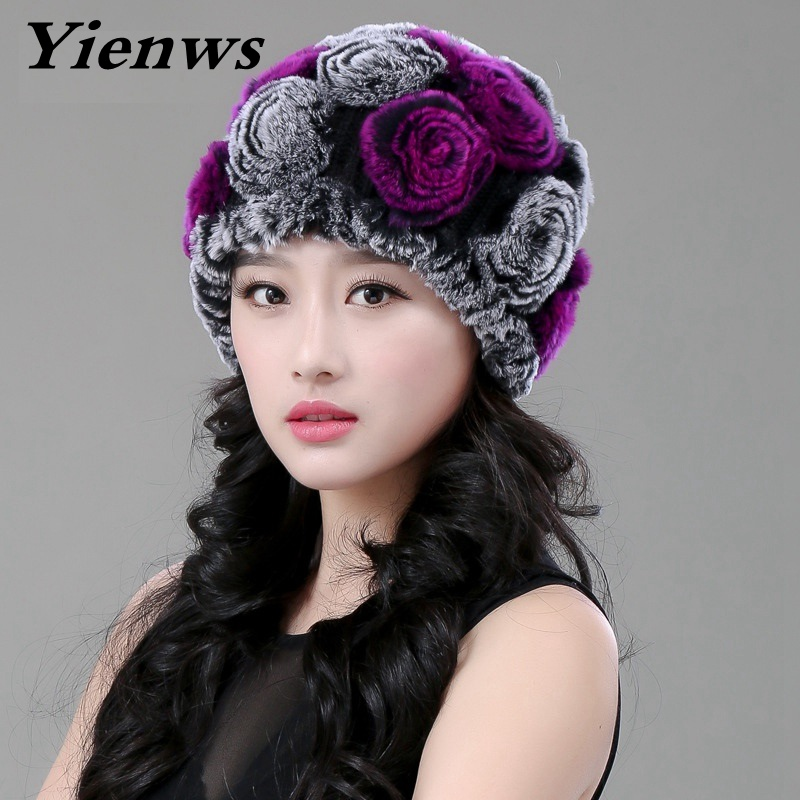 Yienws Women Hat Pom Poms Winter Hats For Girls Skull Cap Real Fur Knitting Rabbit Beanies Genuine Rex Fur Snow Caps YIC544 llama and pom poms snow jackets p