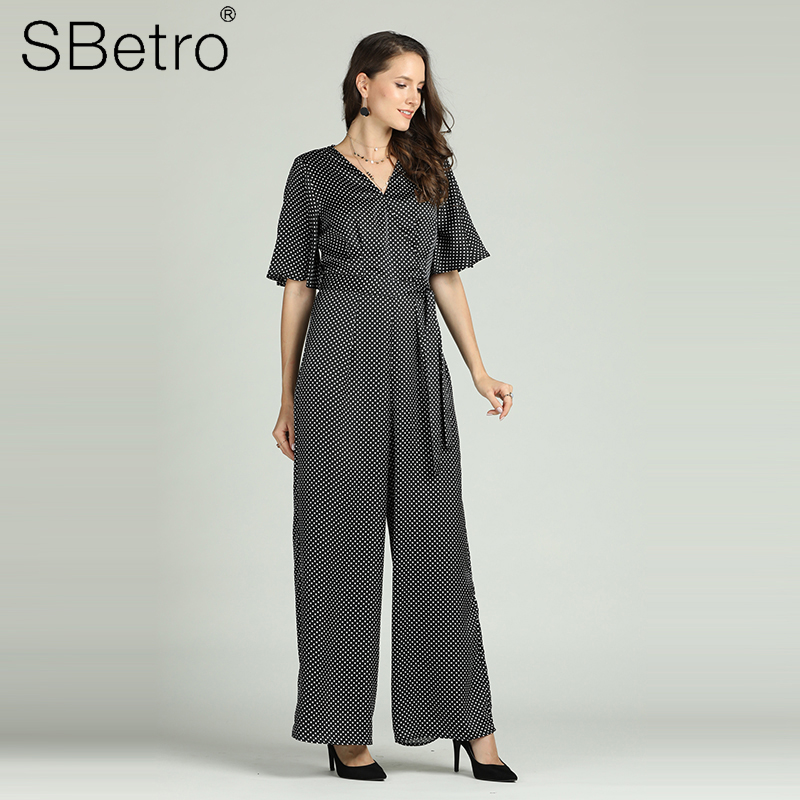 2fe819fd04d Suzanne Betro Polka Dot Tunic Women's Summer Overalls Woven V Neck Flare  Short Sleeve Jumpsuit with Belt One piece Streetwear | KDExpress