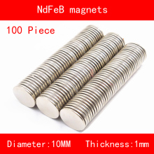 100PCS diameter 10*1mm n35 N52 Rare Earth strong NdFeB Neodymium Magnet