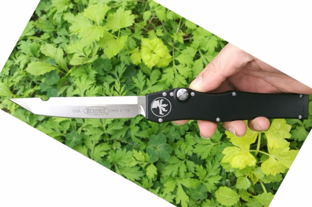 ФОТО high quality microtech halo V white elmax blade tanto drop point Aluminum handle dual action removal tool K sheath CNC