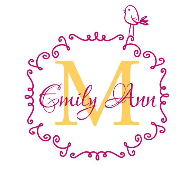 Personalized Name Initial Decal Mural Frame Vinyl Baby Nursery Wall ...