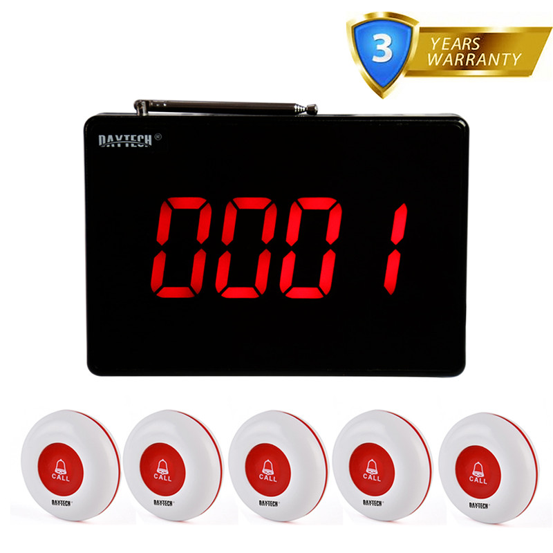 DAYTECH Wireless Pager Calling System Waiter Nurse Call Button 1 Panel Transmitter And 5 PCS Call Buzzer Receivers