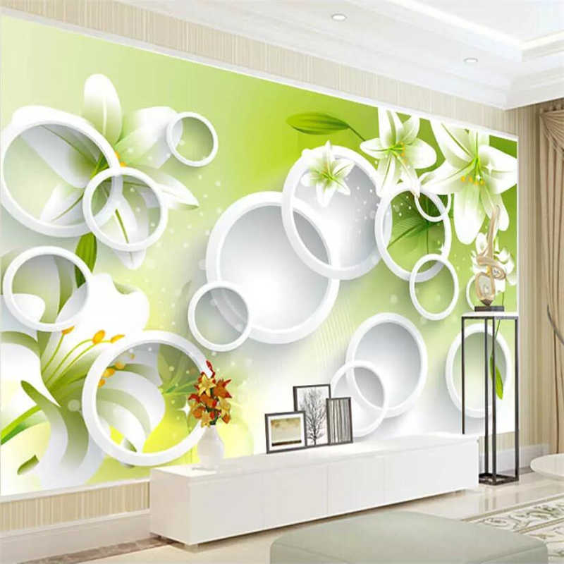 beibehang Custom wallpaper 3D mural fresh lily circle living room bedroom TV background wall papers home decor papel de parede