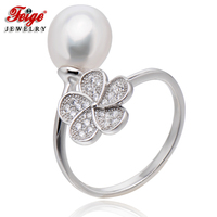 Trendy Flower 925 Sterling Silver Pearl Ring for Women Party Jewelry 8 9MM AAA White Freshwater Pearl Rings Dropshipping FEIGE