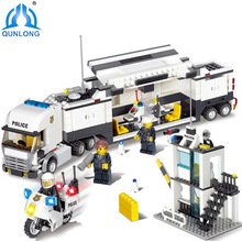 Qunlong Toys Minecraft Police Station Modle Building Blocks DIY Bricks Set Educational Toys For Children Compatible Legoed City
