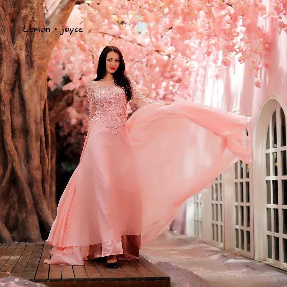 לימון ג 'ויס ורוד שמלות נשף עם שרוולים ארוכים 2019 חדש O-צוואר ואגלי אונליין נשף מסיבות פלוס robe דה soiree