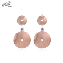Badu Long Dangle Earring Stainless Steel Rose Gold Big Statement Earrings for Women Fashion Jewelry Wholesale