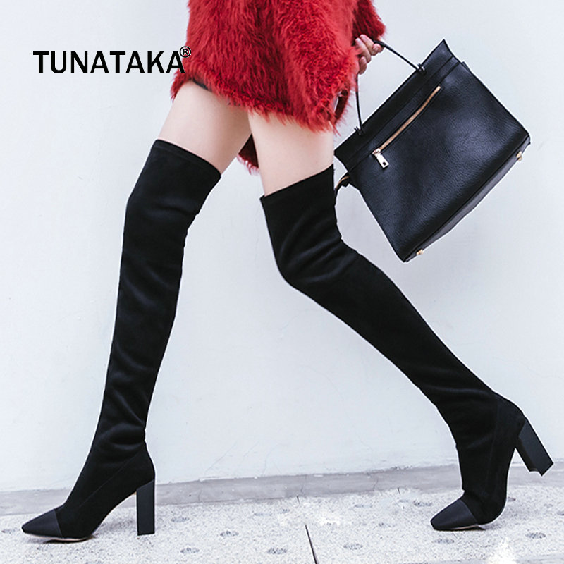 Thick High Heel Slip On Woman Over The Knee Boots Square Toe Winter Stretch Boots Fashion Ladies Thigh Boots Black