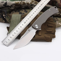 YX 650 Original Sand Blasting Non slip Gray Titanium Handle Folding knife D 2 Blade Hunting Outdoor Survival Pocket Knife