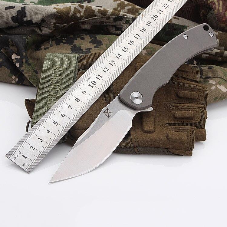 YX-650 Original chorro de arena antideslizante gris mango de titanio cuchillo plegable D-2 hoja de caza al aire libre cuchillo de bolsillo de supervivencia