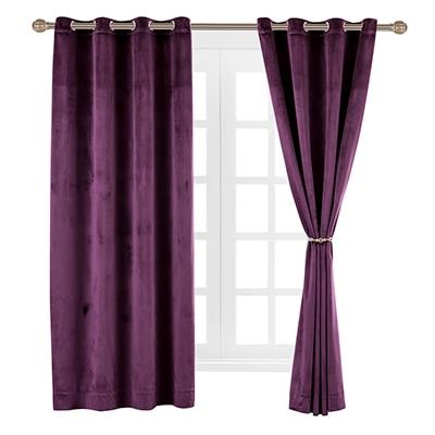 solid matt heavy velvet curtain drape panel blackout super soft nickel grommet burgundy