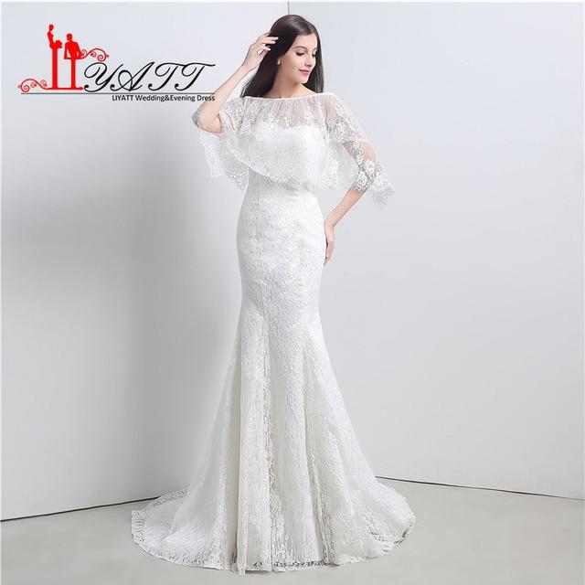 Elegante sirena Encaje Vestidos de novia 2017 sexy transparente cabo ...