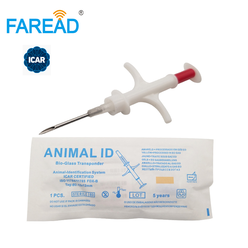 X1000pcs 134.2KHz 1.4x8mm/2.12x12mm RFID Animal Microchip With Syringe For Pets