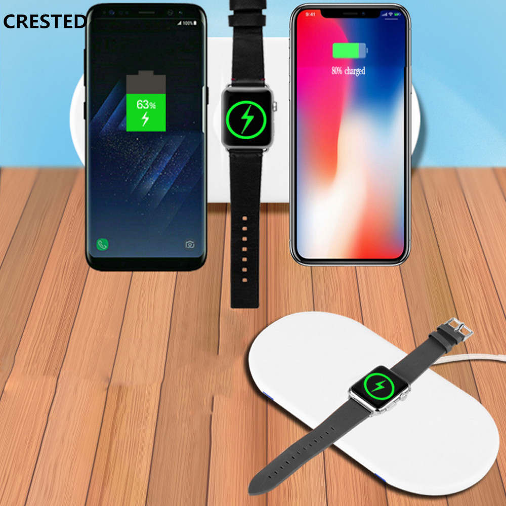 CRESTED Qi Wireless Charger For apple watch 3 2 1 IPhone X 8 Plus 3 in 1 10W Quick Charge Fast Wireless Charging Pad For Samsung