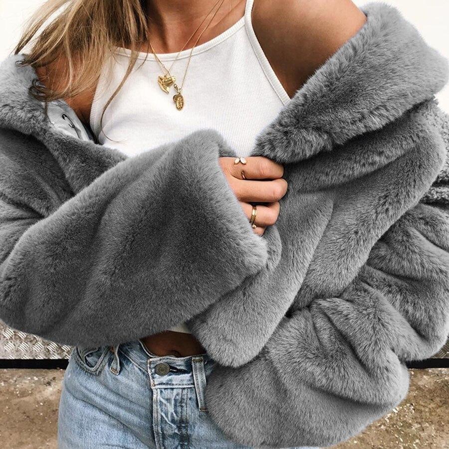 Plush Coat Lapel Loose Coat Short Streetwear Ladies Jackets Spring Women Marynarki Damskie Coat Women 2019 60j130 in Faux Fur from Women 39 s Clothing