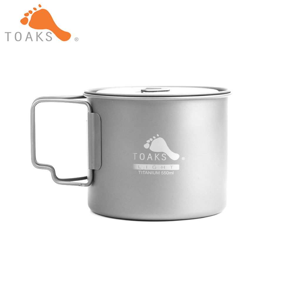 TOAKS POT 550 L Pure Titanium Cup Ultralight Version 0.3mm Outdoor Mug with Lid and Foldable Handle Camping Cookware 550ml 72g|Outdoor Tablewares| |  - title=