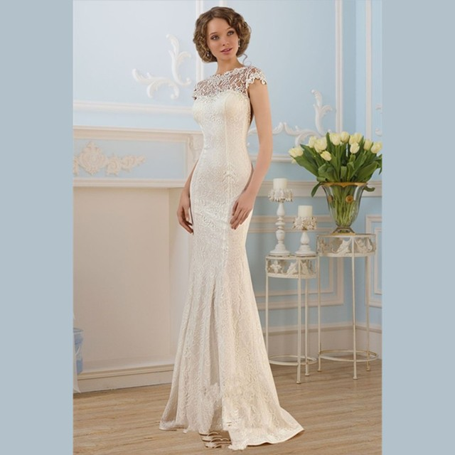 Sexy Backless Wedding Dress 2015 White Lace Sheath Gowns Scoop Cap Sleeve Bridal Dresses Vestido