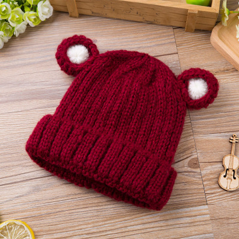 2017 Fashion Children Hats Boys And Girls Bear Wool Knitted Hat With Ears Girls Winter Hats Female Skullies & Beanies the new children s cubs hat qiu dong with cartoon animals knitting wool cap and pile
