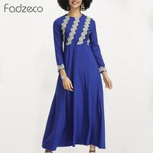 Fadzeco African Dresses for Women Dashiki Long Robe Casual Loose Lace Applique Muslim Maxi Dress Tribal Swing