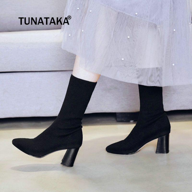 2018 New Knitting Mid Calf Boots Chunky High Heel Elastic Boots Pointed Toe Winter Warm Fashion Women Shoes Gray Black Apricot 2018 new arrival fashion winter shoe genuine leather pointed toe high heel handmade party runway zipper women mid calf boots l11