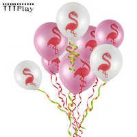 100 pcs/lot 12 pouces rose et blanc flamant fête ballons Latex gonflable Ballon Tropical fête d'anniversaire décoration fournitures pour enfant