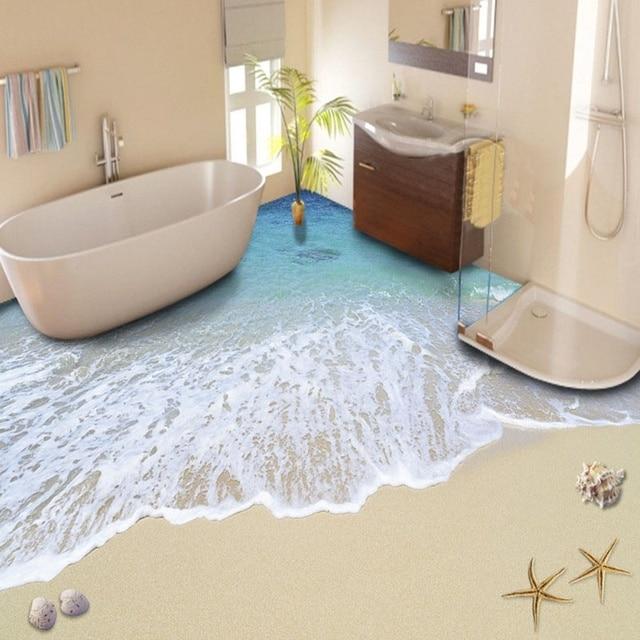 gratis verzending 3d custom muursticker strand golven badkamer vloeren schilderen foto behang. Black Bedroom Furniture Sets. Home Design Ideas