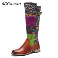 MStacchi 2019 Vintage Patchwork Western Boots Women Shoes Bohemian Genuine Leather Shoes Woman Mid calf Boots Autumn Botas Mujer