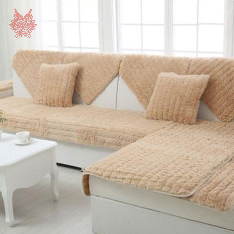 Modern rose floral quilted plush sofa cover fur sectional slipcovers