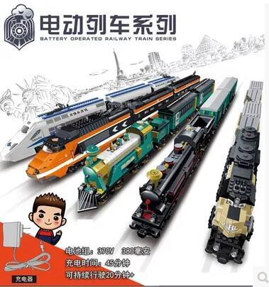 New Creator KAIZI City Electric train building blocks Set High-speed rail Toy bricks steam train Maersk 98101 transport gift boy d418 thomas train track toy electric toy happy farm gift set eyes will move