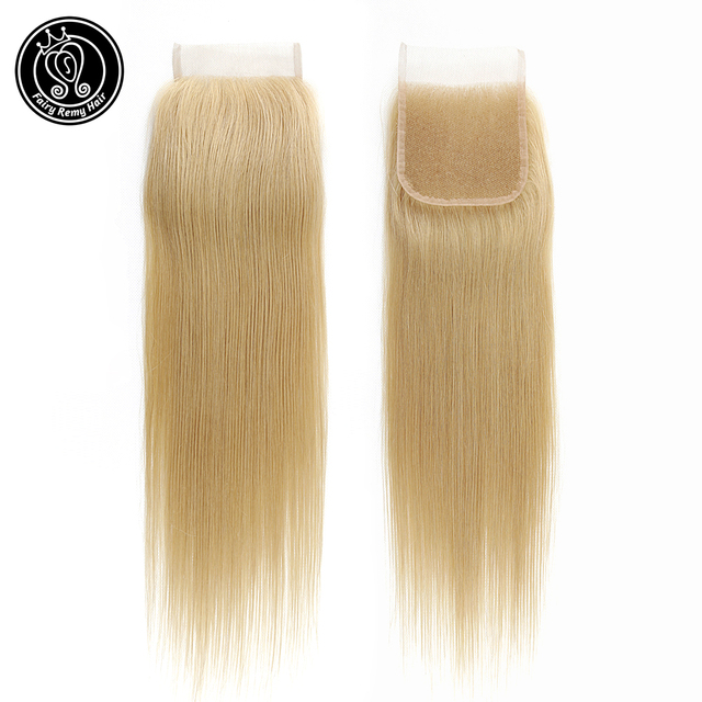 """Fairy Remy Hair Straight 4x4 Closure Human Hair Lace With Baby Hair Closure Swiss Lace Gold Blonde Color 18"""" European Remy Hair"""