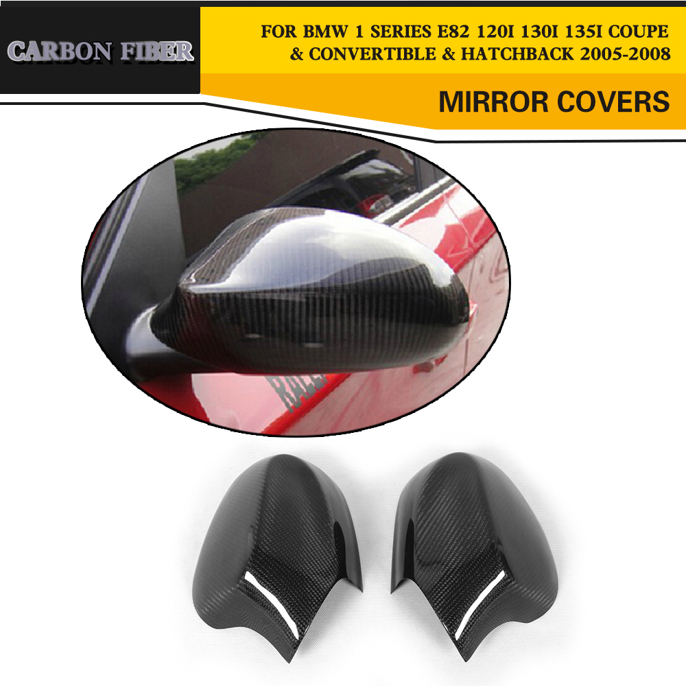 Carbon Fiber Racing Side Mirror Cover Caps For BMW 1 Series E82 120i 130i 135i Coupe Convertible Hatchback 2005-2008 carbon fiber side mirror cover caps overlay for 2005 2006 2007 2008 bmw e90 e91 3 series