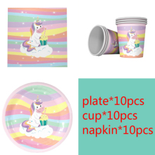 New Unicorn theme 10pcs Napkins+10pcs Cups+10pcs Plates for Children Unicorn Birthday Party decoration supplies 10pcs mn3005